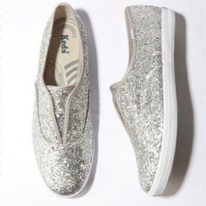 Silver glitter Keds size 8